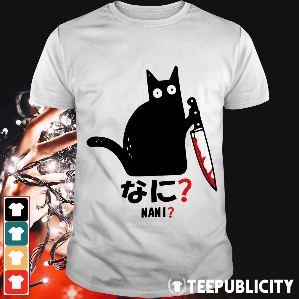 Cat Nani murderous black cat with knife shirt