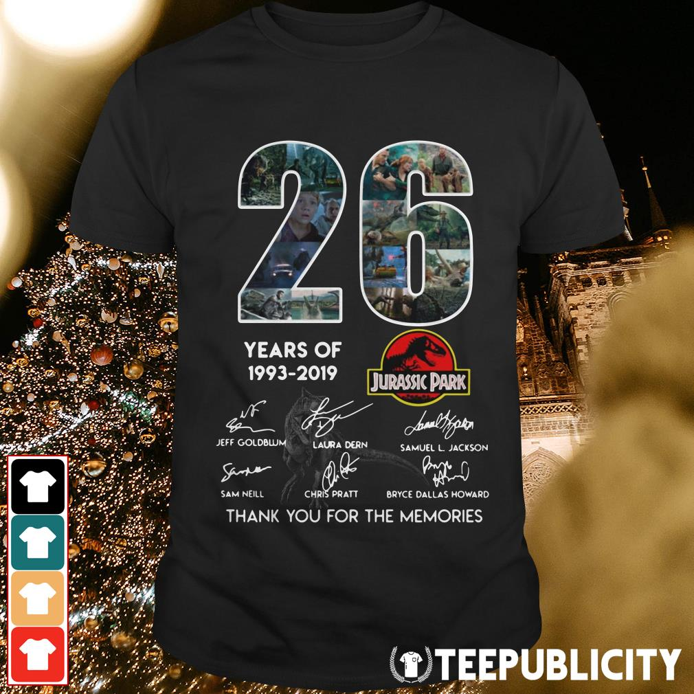 Official 26 years of Jurassic Park 1993 2019 signature shirt