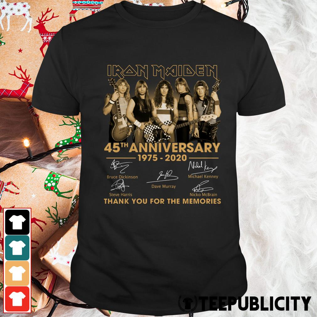 Official Iron Maiden 45th anniversary 1975 2020 thank you for the memories signature shirt