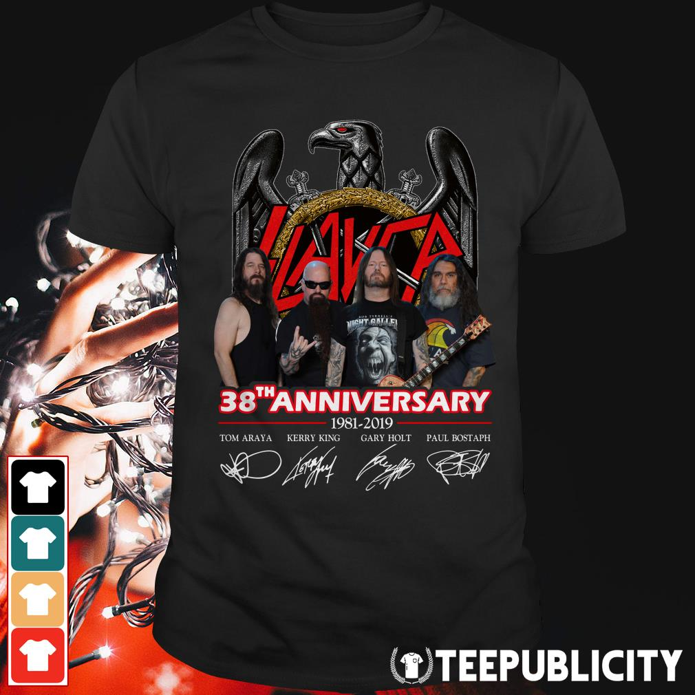 Official Slayer 38th Anniversary 1981-2019 signatures shirt