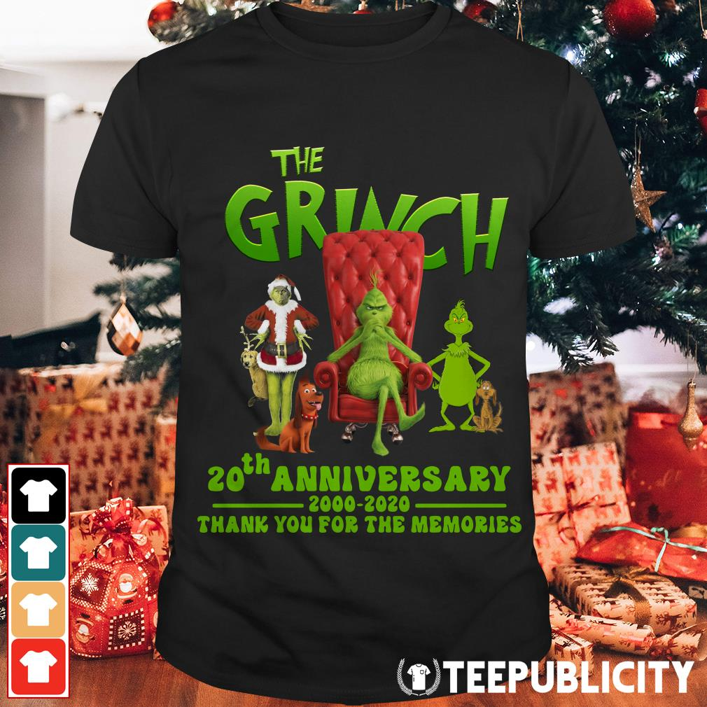 Official The Grinch 20th anniversary 2000 2020 thank you for the memories shirt