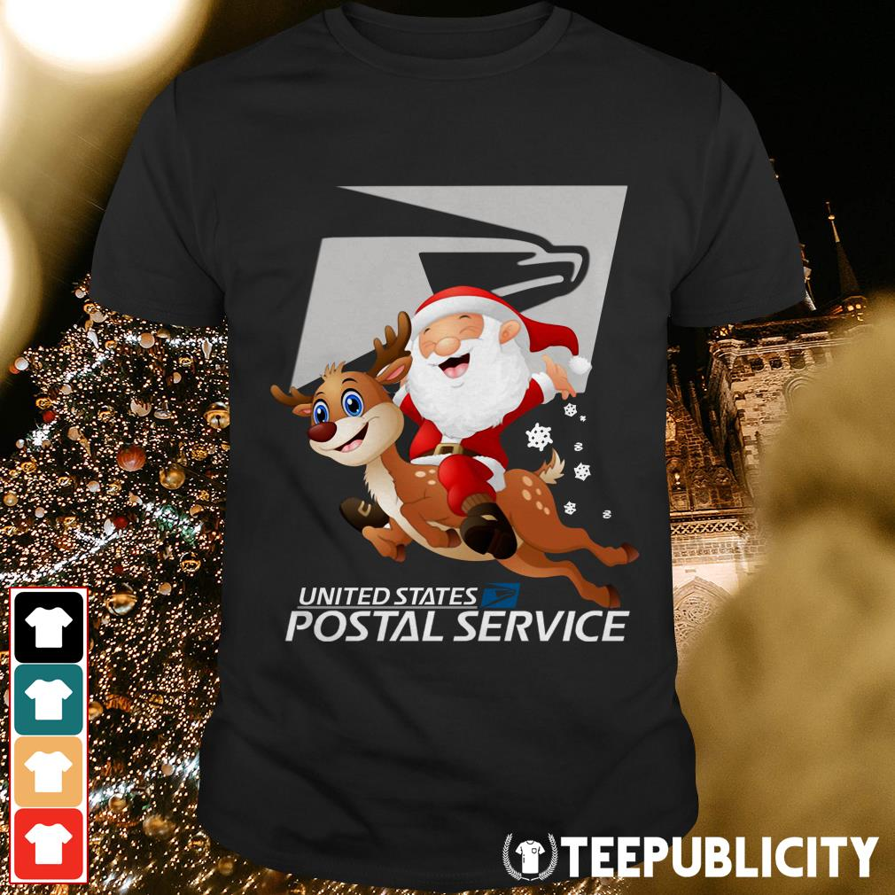 Christmas Shirt.New United States Postal Service Santa Claus Riding Reindeer Christmas Shirt