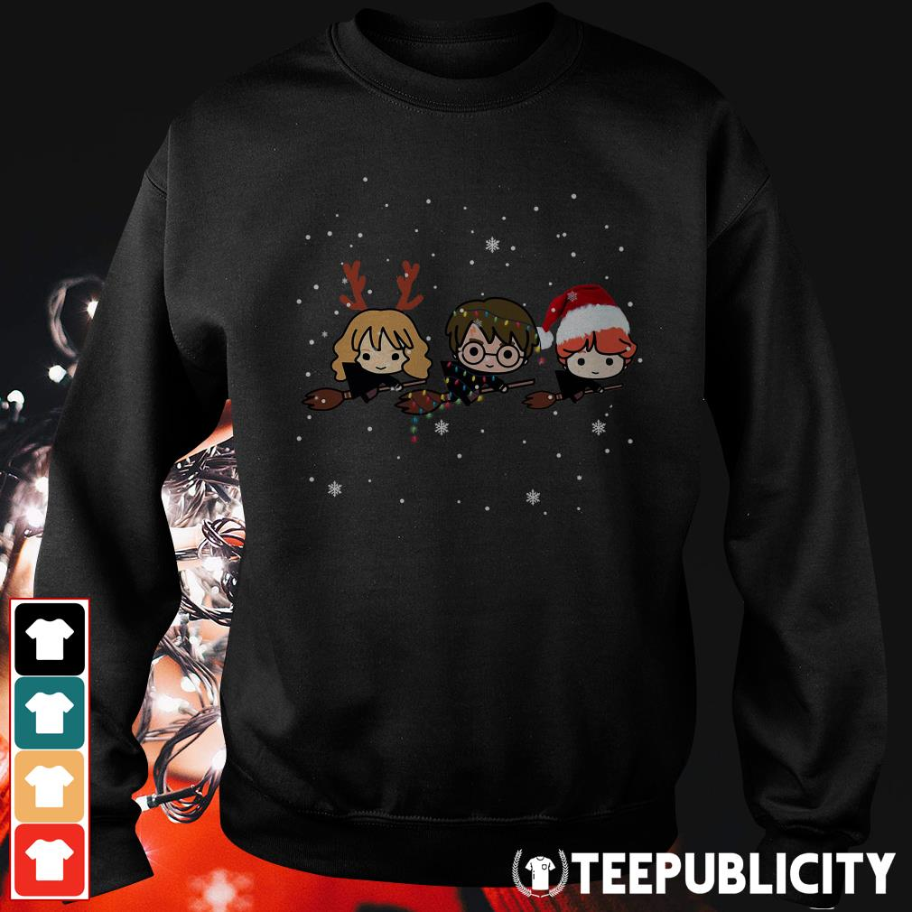 Harry Potter chibi riding a broom Christmas Sweater