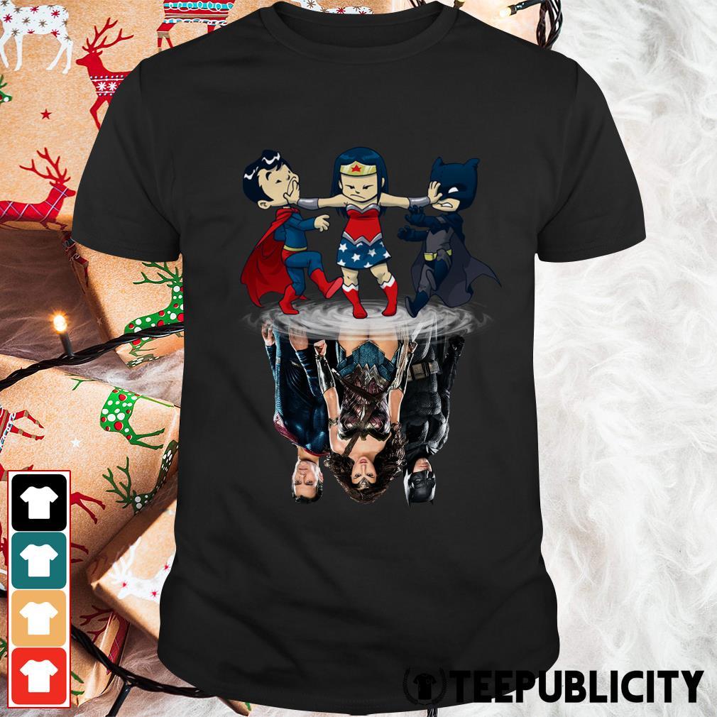 Superman Wonder Woman and Batman water reflection mirror shirt