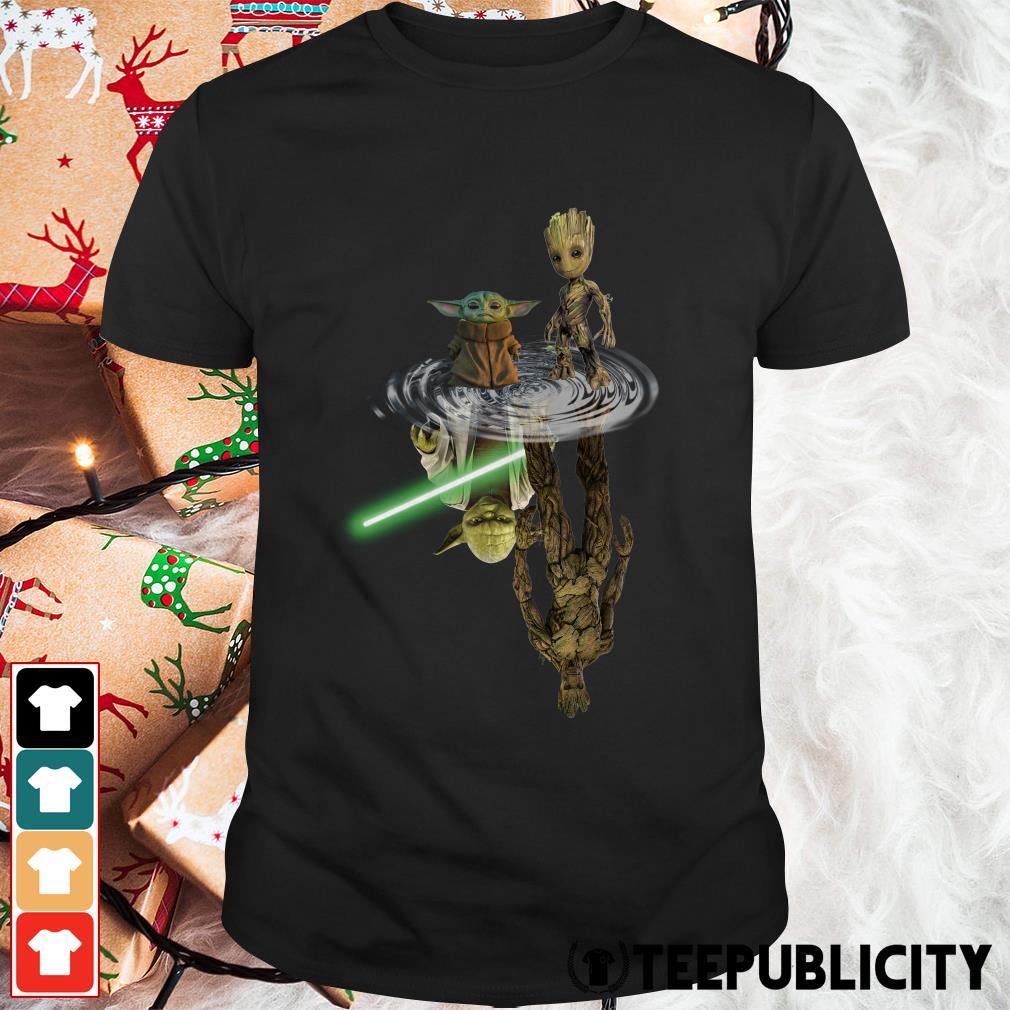 Baby Yoda and baby Groot water reflection master Yoda and Groot shirt