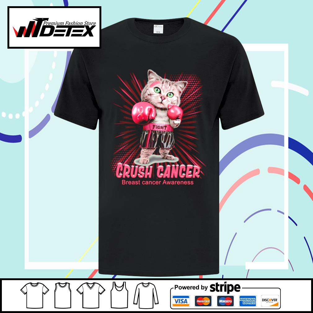 Cat boxing crush cancer breast cancer awareness shirt