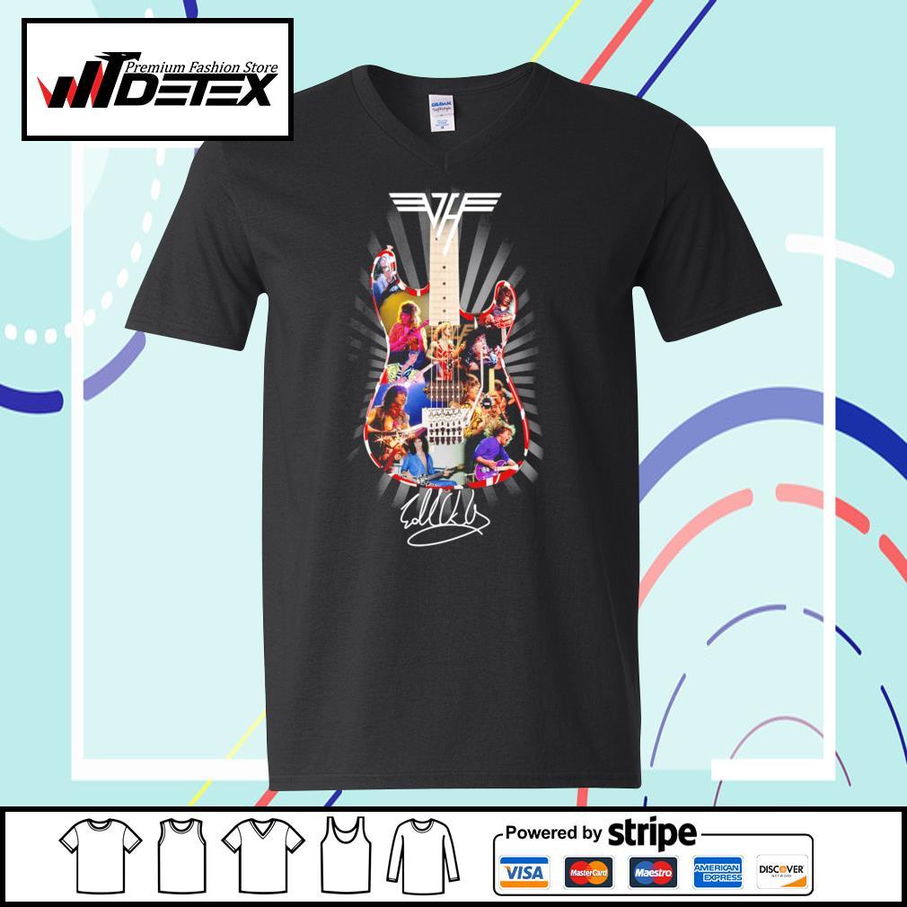 Eddie Van Halen guitar signature s v-neck-t-shirt