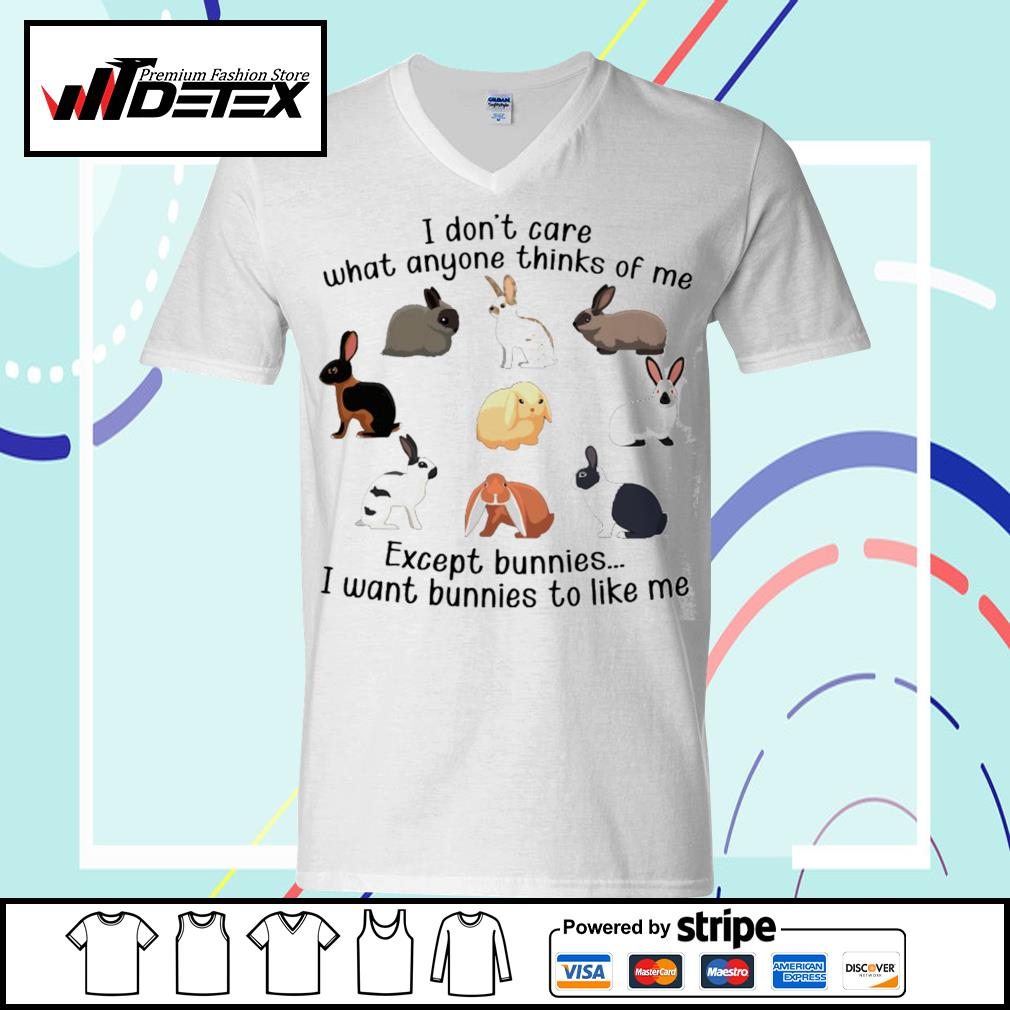 I don't care what anyone thinks of me except bunnies s v-neck-t-shirt