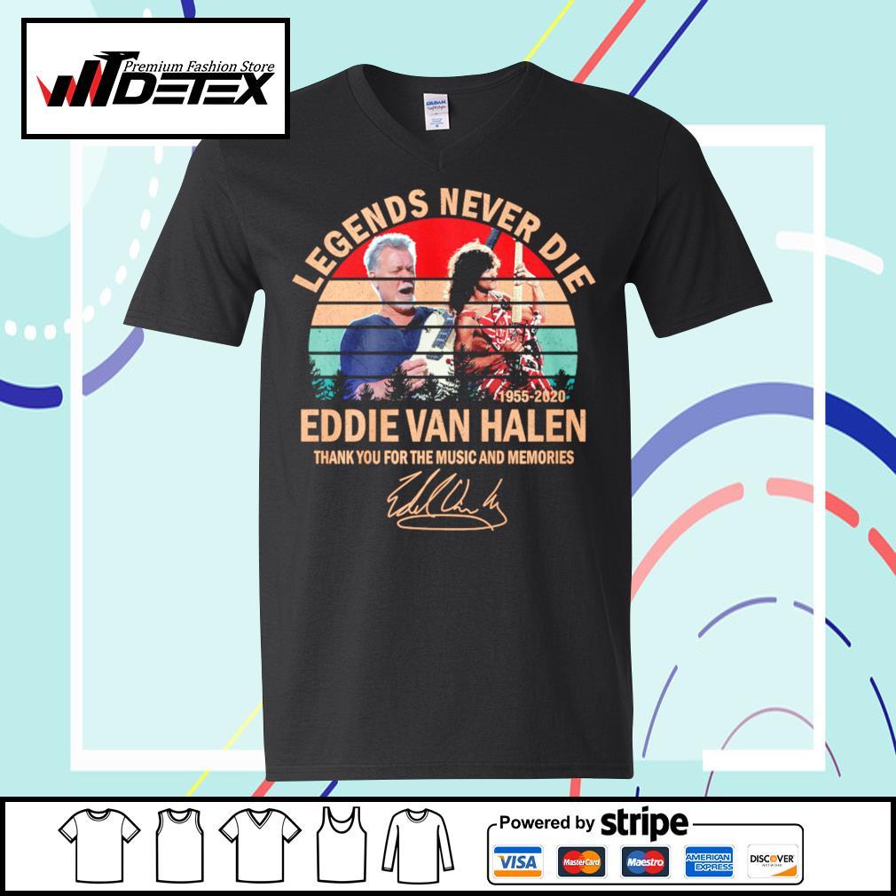 Legends never die Eddie Van Halen thank you for the memories vintage s v-neck-t-shirt