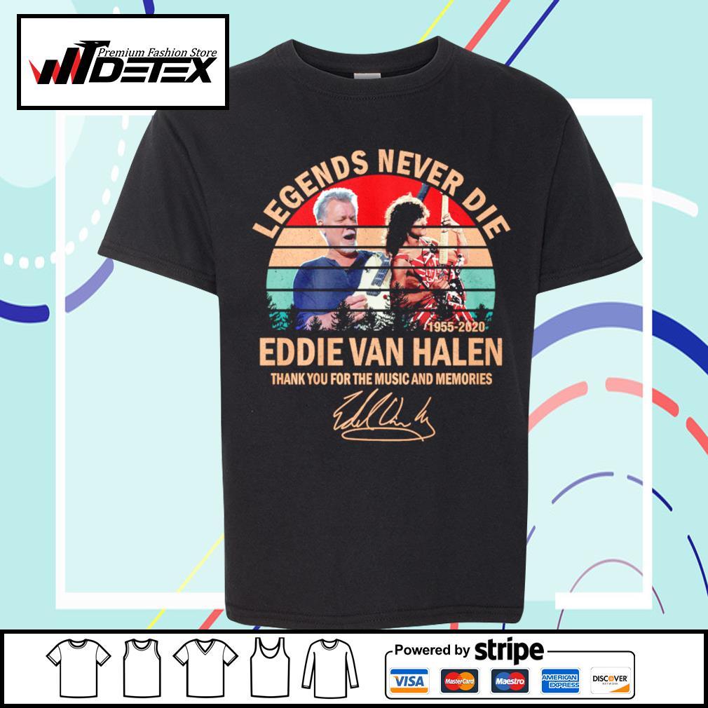 Legends never die Eddie Van Halen thank you for the memories vintage s youth-tee